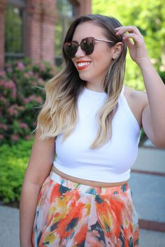 True Life: I'm Addicted to Maxi Skirts Chicwish Orange Blossom Watercolor Maxi Skirt Quay Supergirl Sunglasses elf cosmetics Lipstick Orange Dream Jackie Giardina Living After Midnite Fashion Style Blogger