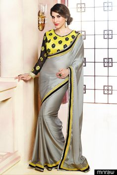 Grey sating and georgette saree
