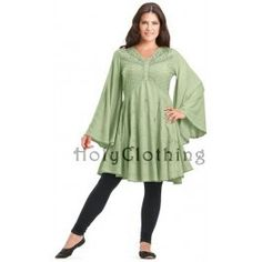 HolyClothing.com - Ariana Gothic Bell Sleeve Victorian Empire Butterfly Tunic Top