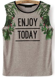 Grey Sleeveless ENJOY TODAY Leaves Print T-Shirt - Sheinside.com