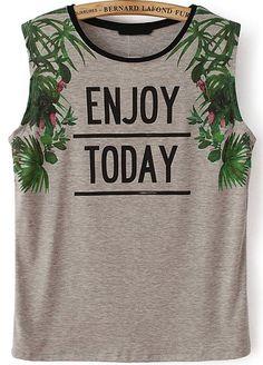 Grey Sleeveless ENJOY TODAY Leaves Print T-Shirt - Sheinside.com