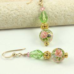 Mint Green Earrings Peridot Pink Pastel by AbacusBeadCreations, $28.00