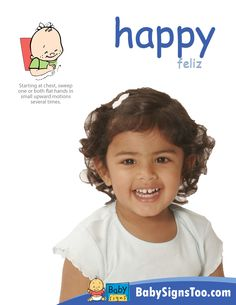 Free Downloadable Poster with the sign for HAPPY www.BabySignsToo.com  #BabySigns #BabySignLanguage #BabySign