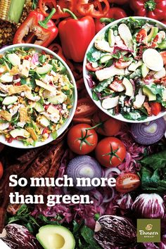 """With an abundance of high-quality ingredients like chicken made without antibiotics and topped with fresh house-made dressings, our salads are so much more than an obligation to """"be good""""; they're delicious, fully satisfying meals."""