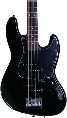 4-string Bass Guitar with Alder Body, Maple Neck, Rosewood Fingerboard, and 2 Split Single-coil Pickups - Black