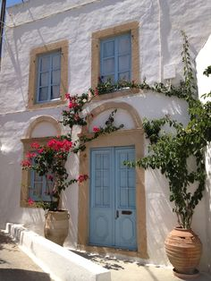 Patmos Island, Greece Wonderful Places, Beautiful Places, Zorba The Greek, Greek Blue, Blue Doors, Paradise Found, House By The Sea, Samos, Crete Greece