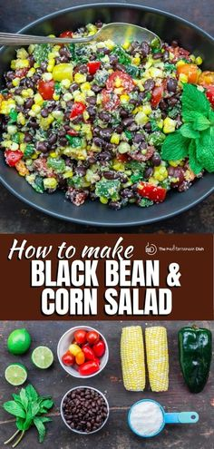 This easy black bean and corn salad is so not your average! Satisfying and super bright, thanks to lime juice and fresh herbs! Perfect for any Summer party this year! #summerrecipes #4thofjuly #salad Corn Salad Recipes, Corn Salads, Spinach Recipes, Appetizer Recipes, Dinner Recipes, Appetizers, Vegetable Recipes, Black Bean Corn Salad, Black Bean Salad Recipe