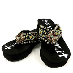 31a75496076ca5 Gypsy Soule Zydeco Embellished Flip Flops BW-Zydeco