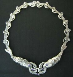 """Margot de Taxco sterling silver and amethyst quartz """"Fish and Plumes"""" necklace, Taxco, Mexico."""