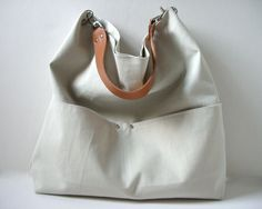 Tote Bag, Bucket Tote - Neutral Stone Color with Leather for Women, Shoulder Bag, Casual Tote Bag. $94.00, via Etsy.