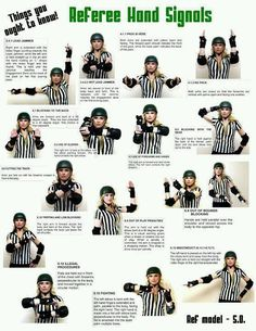 Roller derby referee hand signals!