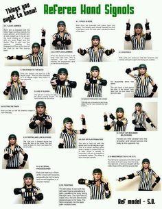 Roller derby referee hand signals!