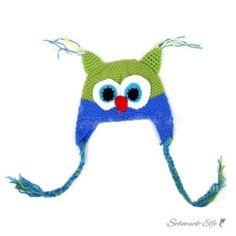 Strick Eulen Kinder Mütze kiwi grün & blau