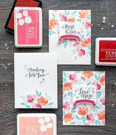 WPlus9 | Floral Valentines – Background Stamping 3 Ways with Watercolored Anemones and Valentine Wishes stamps.