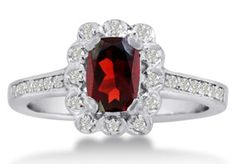 1ct Oval Garnet and Diamond Ring Crafted In Solid 14K White Gold
