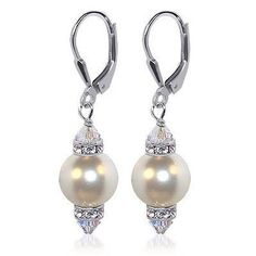 SCER155 Sterling Silver Crystal and 10mm White Imitation Pearl Earrings Made with Swarovski Elements: http://www.amazon.com/Sterling-Imitation-Earrings-Swarovski-Elements/dp/B000PAGO8W/?tag=utilis-20