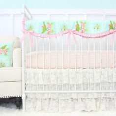 Evie's Vintage Lace Baby Crib Set | By Caden Lane    With or without Bumpers  From slumberstyle.com #Nursery #bedding #baby