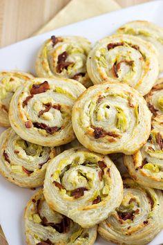 FANTASTIC Artichoke Bacon Pinwheels.   A hit at a recent bridal shower we hosted.