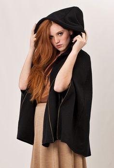 Black Cape jacket wool knitted Costume $190.00 #Black #Cape #jacket #wool #knitted #Costume