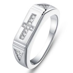 Note: Please Allow 2 To 3 Weeks For Delivery - Surface Width:6mm - Material:Rhinestone - Metals Type:Platinum Plated - Size: 6,7,8 or 9 - R-Diamonds:19pcs - Weight: 3.41g