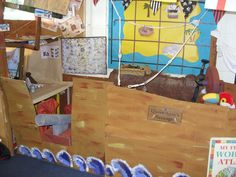 Pirate ship - the children loved this role play area. Once they knew the jobs that pirates did on the ship and the parts of the ship you could hear them using the correct terminology during their play.