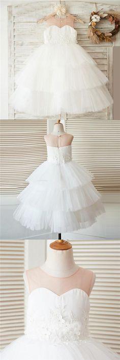 Unique New Design Baby Fashion Tulle Lovely Cutest Wedding Flower Girl Dresses, FG0095