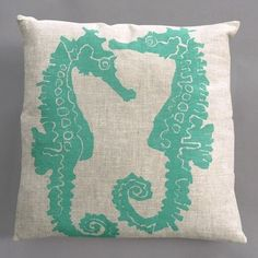 Seahorse Turquoise Pillow on Natural Linen - modern - bed pillows and pillowcases - AllModern