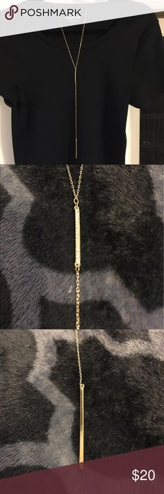 "✨Delicate Gold Double Bar Y Necklace✨ ""Basic Outfit, Averted"" is the perfect way to describe this necklace. Add this necklace to any basic t-shirt for a little glam. Features two bars, the higher one with rhinestones and the lower one solid gold. NEVER worn, great condition. Comes with dust bag. Make an offer! LOFT Jewelry Necklaces"