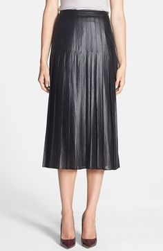 Free shipping and returns on Trouve Trouvé Pleat Midi Skirt at Nordstrom.com. Full-length pleats lend stylish definition to a midi skirt crafted from lightweight fabric and coated in a glossy, leather-inspired finish.