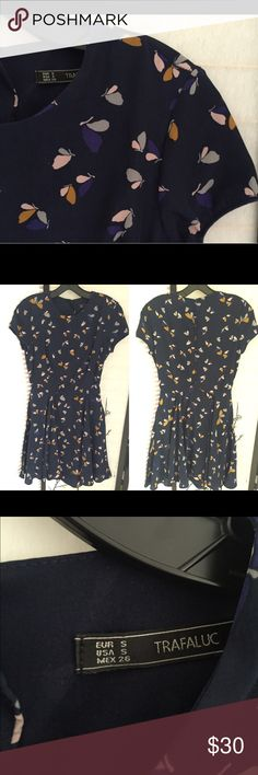 Zara TRF dress with butterfly prints Super cute TRF dress with butterfly prints. Size small. Satin fabric with matte finish. Side zip. I am 5-6, 120lbs and this dress fits perfectly and hits right above knees. Zara Dresses Mini
