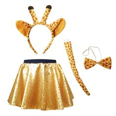 Giraffe Pelly and Me Costume. A Gold satin circle skirt with sparkle hologram spots. On an elasticated waistband for a comfortable fit. Comes with a Giraffe accessory pack which includes; head band ears, tail and bow tie. Great for fancy dress, dance costumes, Halloween and World Book Day.