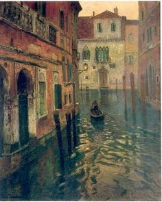 """""""On the canal""""  Frits Thaulow (1847-1906)"""