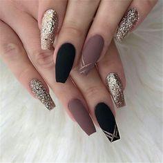 ideas of matte black coffin nails, matte black nails; - ideas of matte black coffin nails, matte black nails; Cute Acrylic Nails, Acrylic Nail Designs, Nail Art Designs, Black Nail Designs, Acrylic Nails For Fall, Coffin Nail Designs, Coffin Nails Designs Kylie Jenner, Acrylic Nail Tips, Autumn Nails