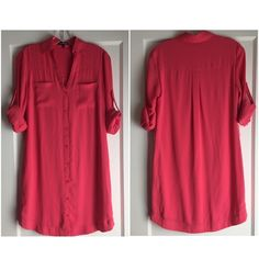 """Express Shirt Dress. Comfy  Chic! Express Shirt Dress. Comfy  Chic! 18"""" between under arms. 36"""" at waist area. 34"""" between shoulder and hem. White belt comes with dress as gift. Salmon colored. Very good condition. Perfection for spring and summer. Express Dresses"""