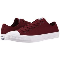 Converse Chuck Taylor All Star II Ox (Deep Bordeaux/White/Navy)... ($75) ❤ liked on Polyvore featuring shoes, grip shoes, laced shoes, navy white shoes, traction shoes and navy shoes