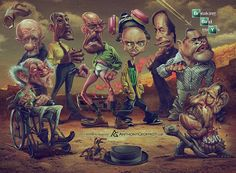 Caricatures of Breaking Bad Characters by Anthony Geoffroy