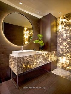 Adorable Bathroom by Marble of the World | translucent onyx stone | modern bathroom | led lighting in bathroom | interior design | luxury living | home decor | The post Bathroom by M ..