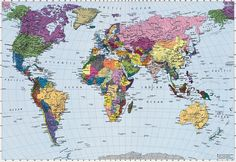 Colorful World Map Wall Mural Wallpaper