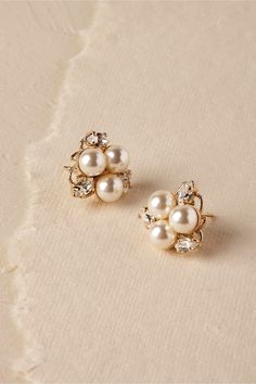 Pax Pearl Stud Earrings Gold in Shoes & Accessories | BHLDN