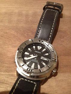 Seiko SRP637 Prospex Tuna Monster on leather strap