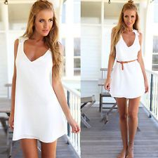 White Sexy Women Summer Casual Backless Party Evening Cocktail Short Mini Dress