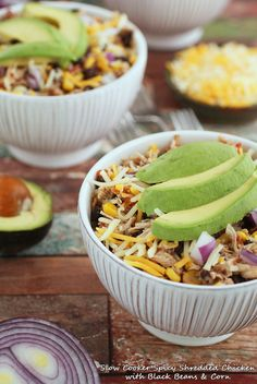 Spicy Shredded Chicken with Black Beans  Corn - this slow cooker chicken recipe is a healthy option!