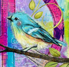 Bohemian Chic cuadros adolescentes pájaro por WallFlowerArtShop