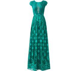 ML Monique Lhuillier Green Floral Lace Gown ❤ liked on Polyvore featuring dresses, gowns, floral gown, blue ball gown, green dress, green lace dress and lace dress