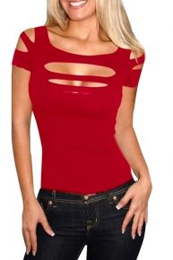 Hollow Out T Shirt Design Strapless Blouse