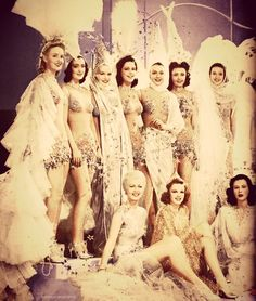 Ziegfeld girls with Lana Turner, Judy Garland and Hedy Lamarr