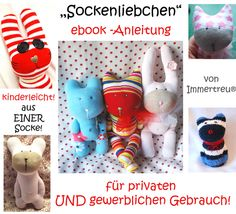 E-book/Anleitung für verschiedene Sockentiere aus jeweils nur einer Socke! Kein umständliches Annähen,nichts kann abreißen!  Kinderleicht-für absolute