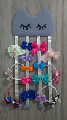 Kids Crafts, Baby Crafts, Organizing Hair Accessories, Diy Hair Accessories, Making Hair Bows, Diy Hair Bows, Crafts To Make And Sell, Diy And Crafts, Kids Gift Bags