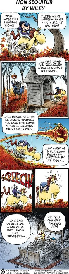Non Sequitur by Wiley Miller Sunday, October 2014 Animals And Pets, Funny Animals, Funny Horses, Non Sequitur, Horse Quotes, Calvin And Hobbes, Pulp Art, Comic Strips, Horse Humor