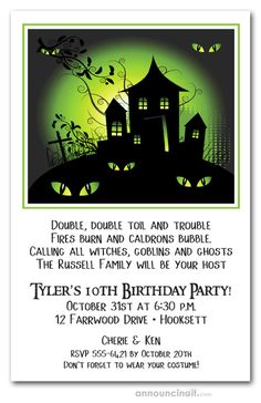 HALLOWEEN PARTY INVITATIONS:  Haunted house  against an eerie green sky with spooky green eyes in the darkness. Perfect for Halloween party invitations or Halloween birthday invitations. See our entire collection at Announcingit.com